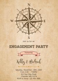 Rustic compass bridal shower invitation