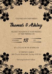 Rustic floral kraft wedding invitation