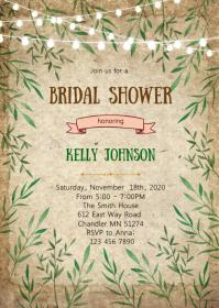 Rustic greenery bridal shower invitation