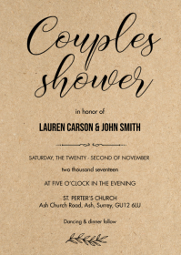 Rustic kraft couples shower card