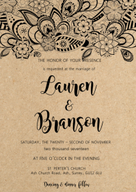 Rustic Kraft Floral wedding invitation