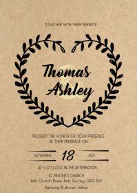 Rustic kraft floral wedding invitation A6 template