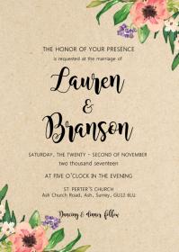 Rustic Kraft Floral wedding invitation