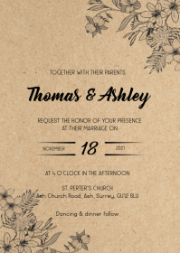 Rustic kraft flower wedding invitation