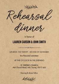 Rustic kraft rehearsal dinner card