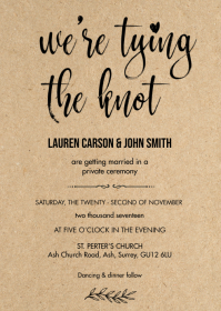 Rustic kraft we are tying the knot card