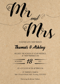 Rustic kraft wedding invitation 2