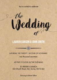 Rustic kraft wedding invitation