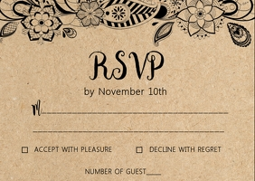 Rustic Kraft wedding RSVP card