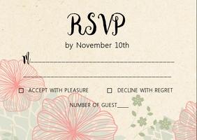Rustic Kraft wedding RSVP card Postcard template