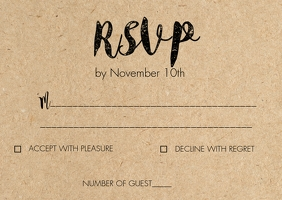 Rustic kraft wedding RSVP card Poskaart template