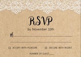 Rustic Kraft wedding RSVP card