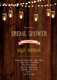 Rustic mason bridal shower invitation A6 template