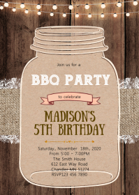Rustic Mason jar party theme invitation