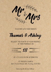 Rustic mr & mrs kraft wedding invitation