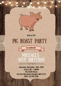 Rustic pig roast theme party invitation A6 template
