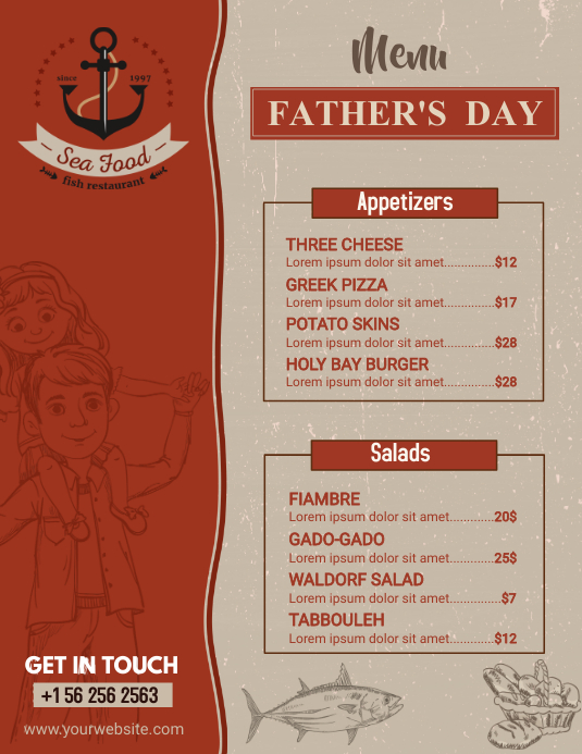Rustic Red Menu for Father's Day