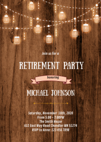 Rustic retirement party invitation A6 template