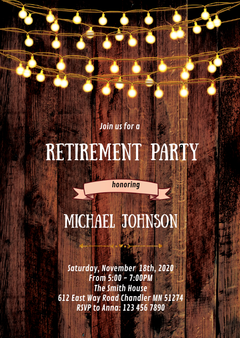Rustic Retirement Party Invitation Template Postermywall