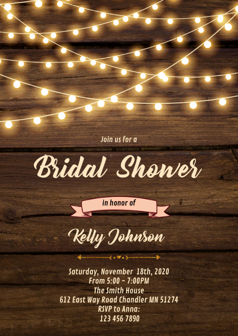 Rustic string light wood invitation A6 template