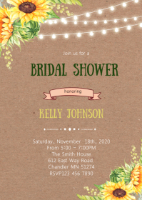 Rustic sunflower theme invitation
