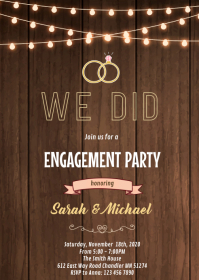Rustic we did married invitation A6 template