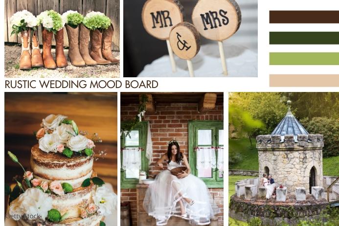 Rustic Wedding Board 4 Color Branding Poster template