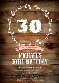 Rustic wood birthday party invitation
