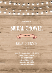 Rustic wood bridal shower invitation A6 template