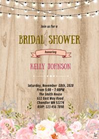 Rustic wood bridal shower invitation