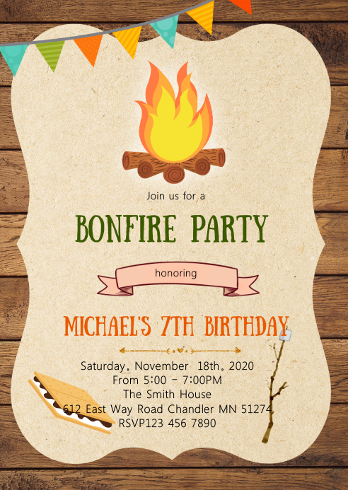 S'more Bonfire birthday party invitation