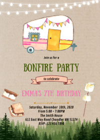 S'more Bonfire birthday party invitation