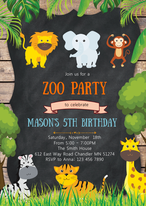 safari animals birthday party invitation template