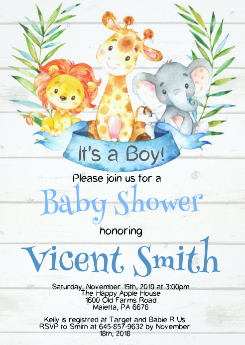 Safari Baby Shower Invitation 09