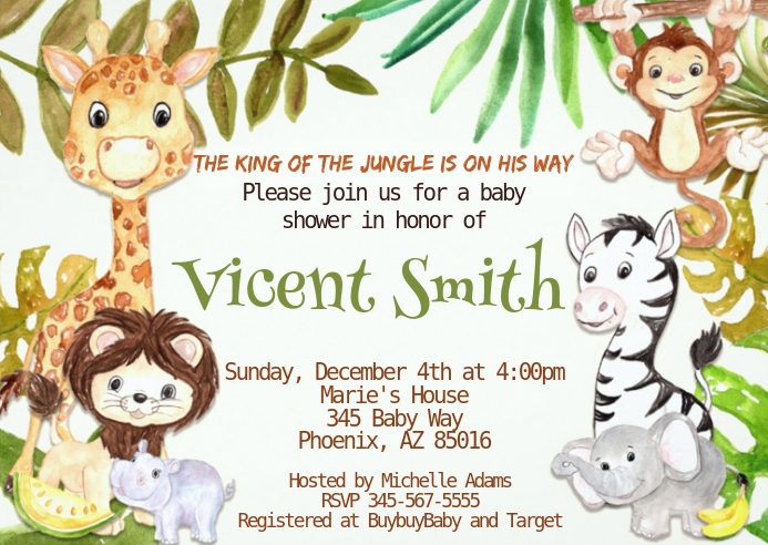 Safari Baby Shower Invitation 12