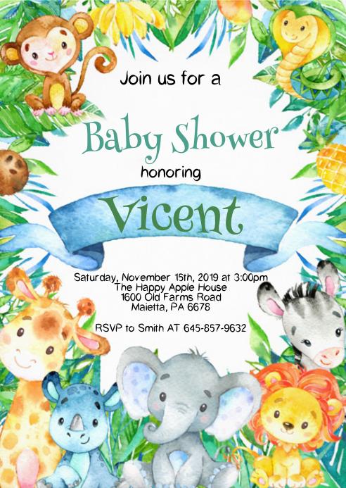 Safari Baby Shower Invitation 13
