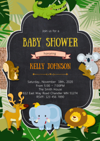 Safari baby shower party invitation
