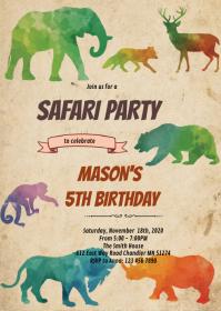 Safari birthday theme party invitation A6 template