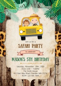 Safari boy birthday party invitation