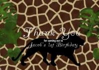 Safari Thank You Birthday Card A4 template