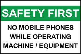 Safety First No Mobile Sign Board Template Banner 4 x 6 fod