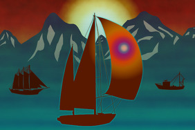 sailing boat modern Swan 65 ketch flying a spinnaker ship and fishing boat