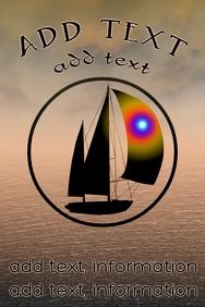 Sailing ocean, sailboat on sea poster templat