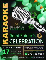 Saint Patrick's Day Karaoke Green Flyer Løbeseddel (US Letter) template