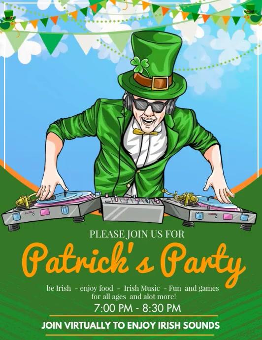 Saint Patrick's party ใบปลิว (US Letter) template