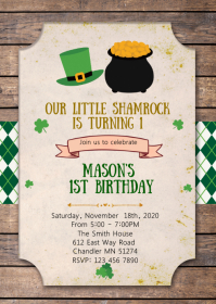 Saint Patrick birthday party invitation A6 template