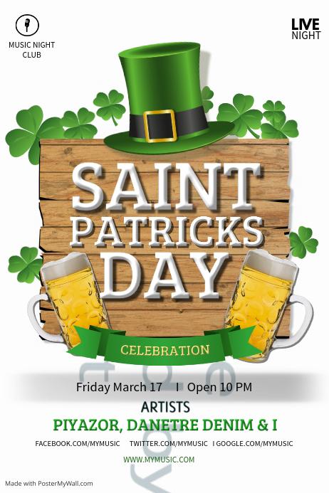 Saint Patricks Bar poster template