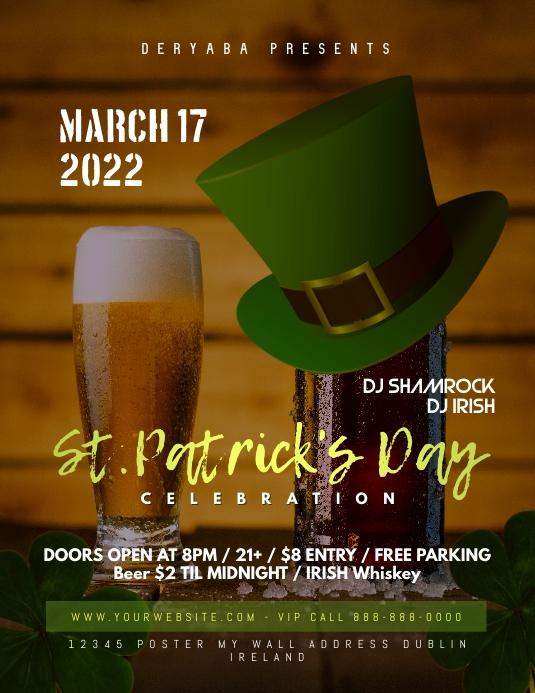 Saint Patricks Day Celebration Flyer March 17 Template
