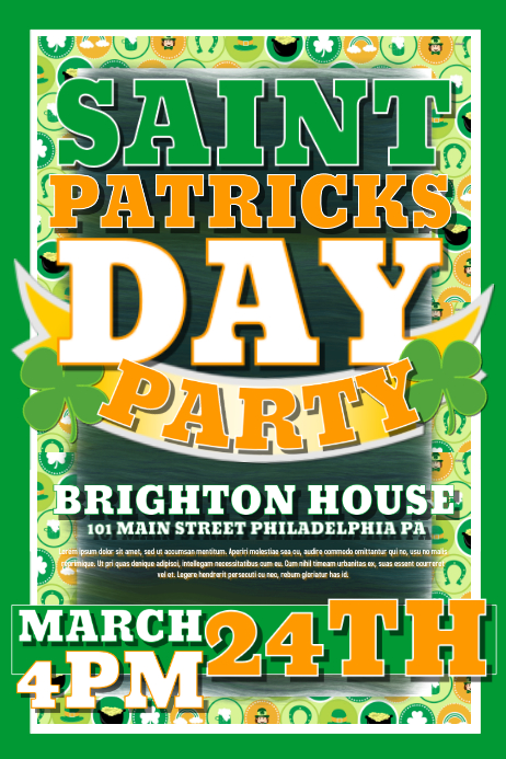 Saint Patricks Day Poster template