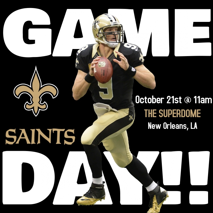 SAINTS GAME DAY FOOTBALL FLYER TEMPLATE